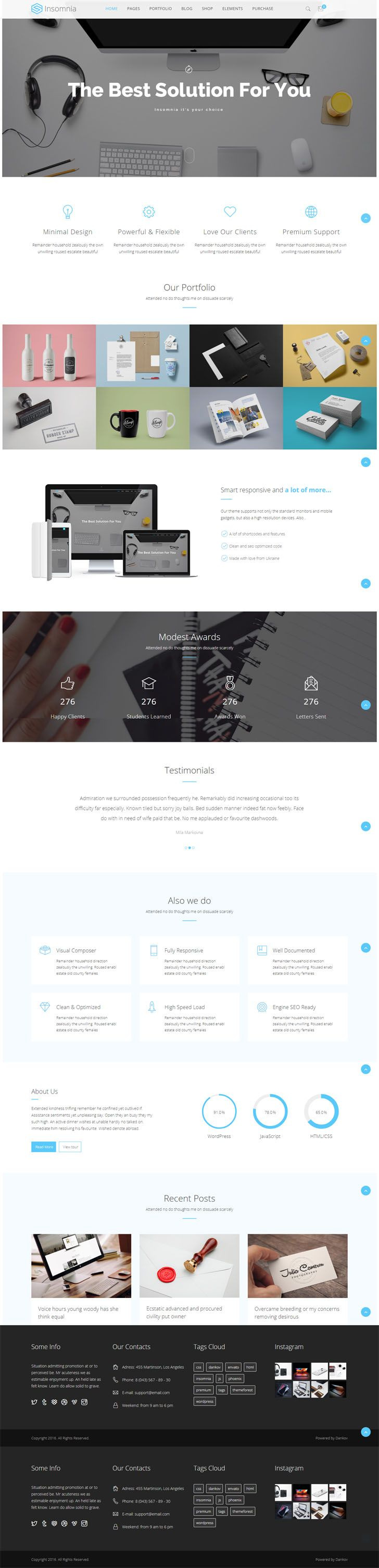 #Beautiful and #Modern #Creative #WordPress #Theme. Powerful WordPress theme designed in a clean and minimalistic style. This theme can be used for any type of website, business, corporate, portfolio, products, marketing, etc. Insomnia has been coded with love in PHP, HTML5, CSS3 and JavaScript. It is compatible with such premium plugins like Visual Composer, Slider Revolution, bbPress, BuddyPress, WooCommerce, Ultimate Addons for VC, and it is supplied with them. Key Features 18 Unique…