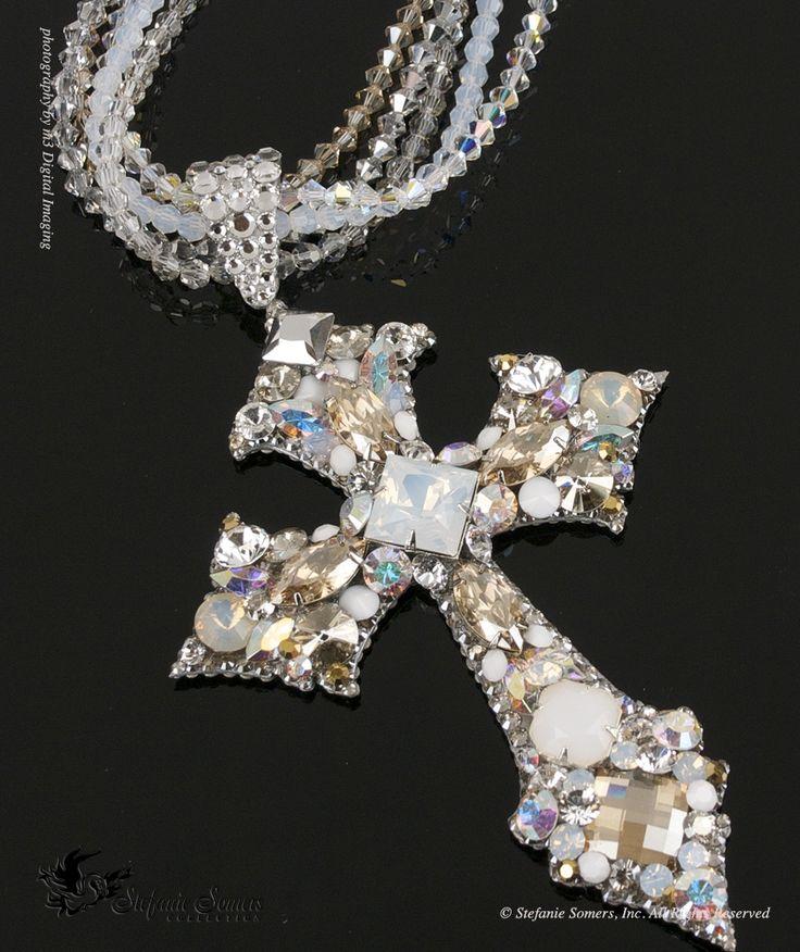 Snow White Goes Goth... Swarovski Crystal Cross Necklace