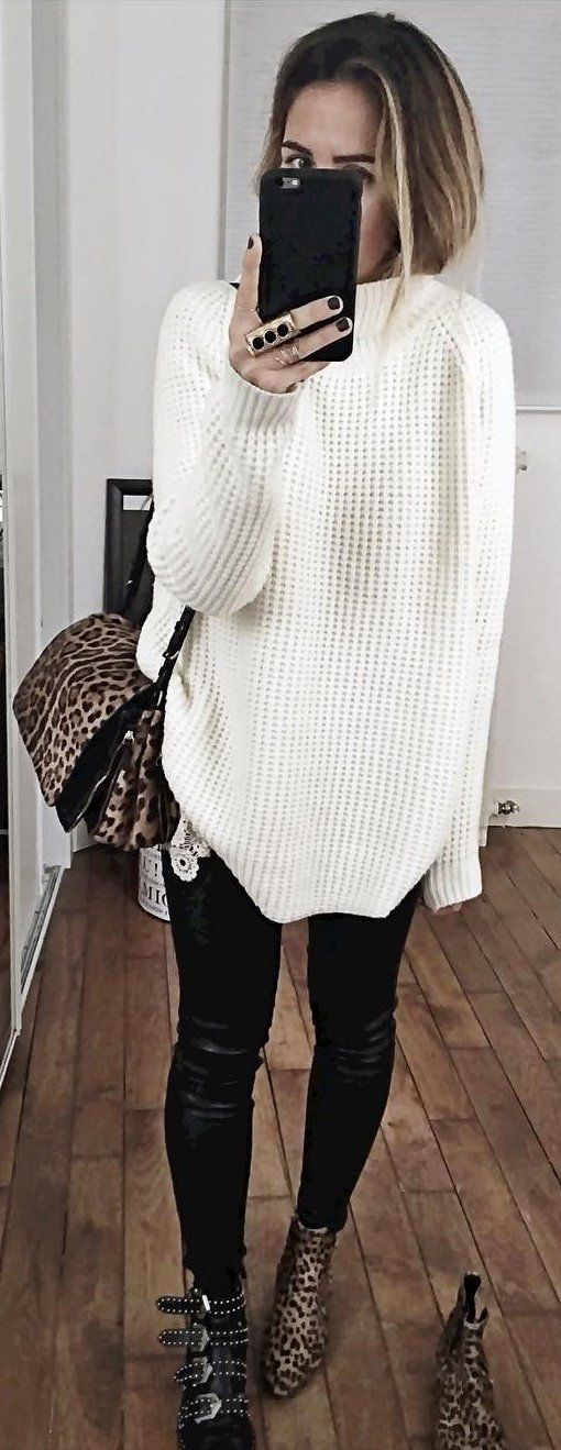 #fall #outfits White Oversized Knit // Leopard Shoulder Bag // Black Skinny Pants // Leopard Booties