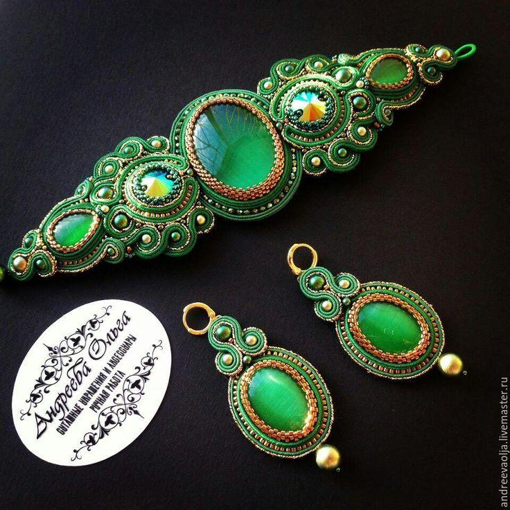 Купить Сутажное комплект - тёмно-зелёный, золотой цвет, сутажные украшения, сутажная техника