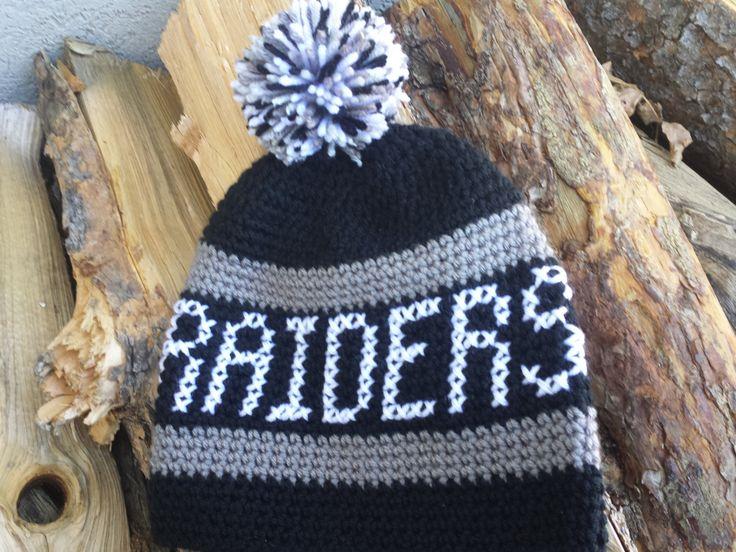 Oakland Raiders hat, crochet Raiders beanie, Raiders hat, crochet NFL hat, crochet winter hat, pom pom hat, football hat, sports hat by tingleyCrochet on Etsy