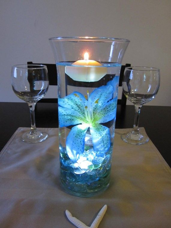 Light Blue Tiger Lily 2015 New Year Floating Candle Vase Light Centerpiece - Marbles Tall Flower Table Candle Decor