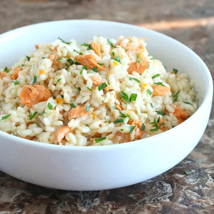 Preserved lemon transforms this salmon risotto into a thoroughly delicious dish that's perfect for the family, a romantic meal, or a dinner party.