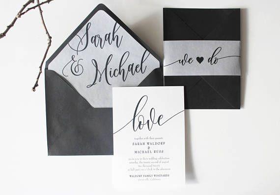 Translucent Vellum Black n white calligraphy WEDDING INVITATION Suite modern envelope liner classic elegant romantic invite we do love