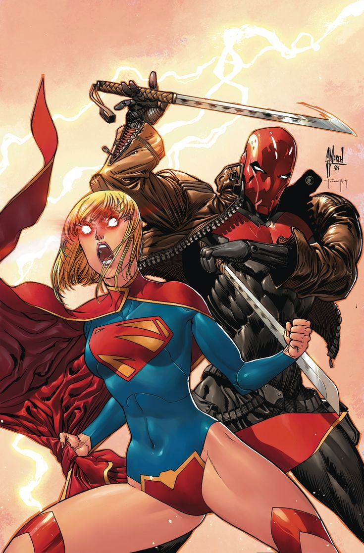 """SUPERGIRL #35 Written by TONY BEDARD Art by KARL MOLINE Cover by GUILLEM MARCH On sale OCTOBER 15 • 32 pg, FC, $2.99 US • RATED T """"SUPERMAN: DOOMED AFTERMATH""""! In the waked of the DOOMED storyline, the ALIEN SYNDICATE looks to re-establish it's foothold on Earth. But the venom powered Red Hood looks for even more muscle in Kara as they go head to head with the scum and villainy of the galaxy. Plus: an ending that will set Kara on a new course!"""