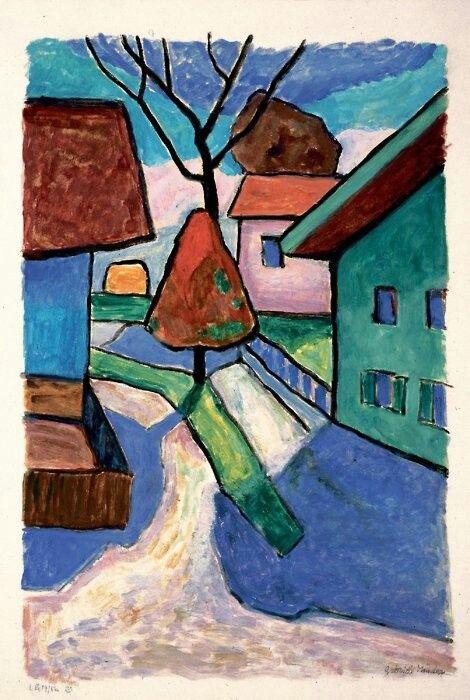 Gabriele Münter (Dt. Malerin des Expressionismus), Gasse in Murnau, Roter Baum (1956).