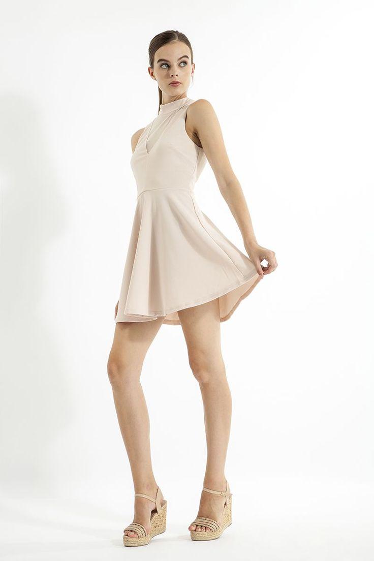 ELISSA MESH INSERT FIT & FLARE DRESS