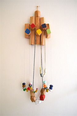 jewellery hanger I made from some blocks by Treehorn