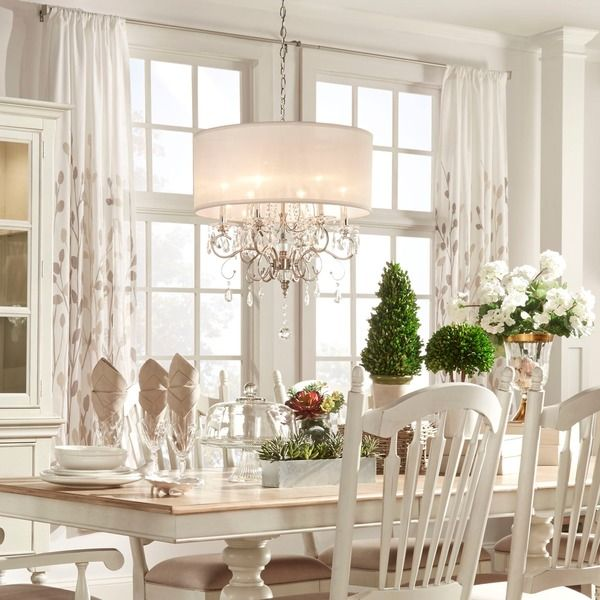 tribecca home silver mist hanging crystal drum shade chandelier white wooden kitchen table