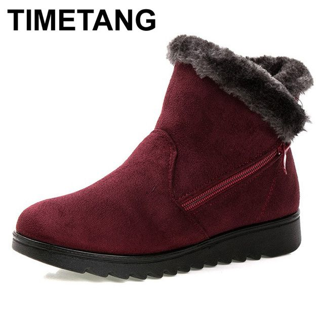 Hot Item $15.99, Buy TIMETANG women winter shoes women's ankle boots the new 3 color fashion casual fashion flat warm woman snow boots free shipping