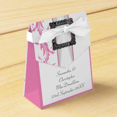 Pale pastel pink damask white lace wedding favor box