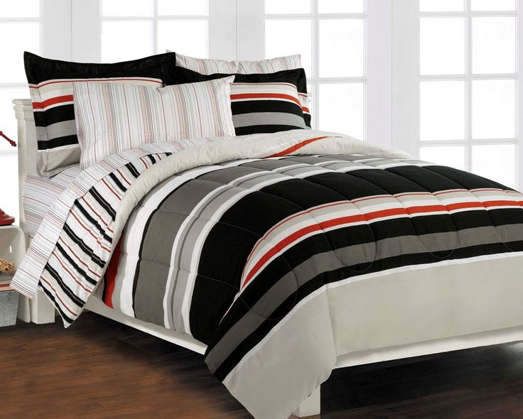 Nautical Stripe Gray 5p Boys Teen Bedding Set Twin