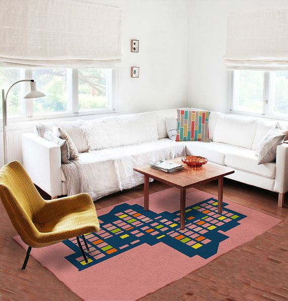 8x5 Decorative Rug Modern Pink Carpet Colorful Contemporary