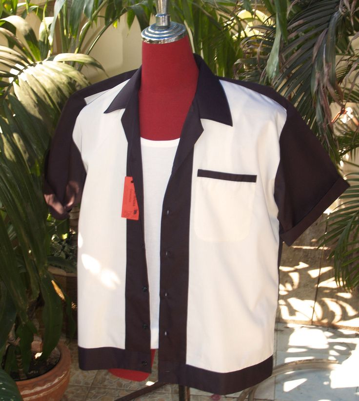 Handmade 1950's Style Mens Rockabilly, Vintage, Bowling Shirt Black & Cream Shirt by judesmagic on Etsy