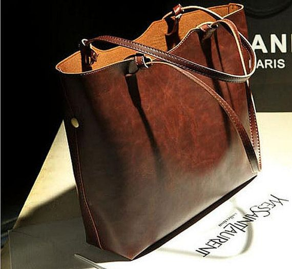 Brown Leather Tote Bag Women Leather Bag Women Bag Fashion Tote IPAD Air - Inside little Bag C111 -- less than $50!