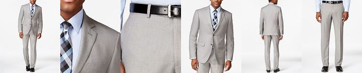 Perry Ellis Light Grey Sharkskin Slim-Fit Suit