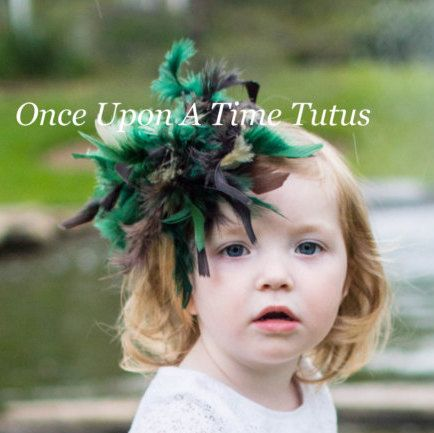 Green Brown Feather Hair Clip - Boa HairBow - Toddler Baby Fascinator Little Girls Hair Bow - Mallard Duck Halloween Costume Hair Accessory by OnceUponATimeTuTus on Etsy https://www.etsy.com/listing/240457329/green-brown-feather-hair-clip-boa