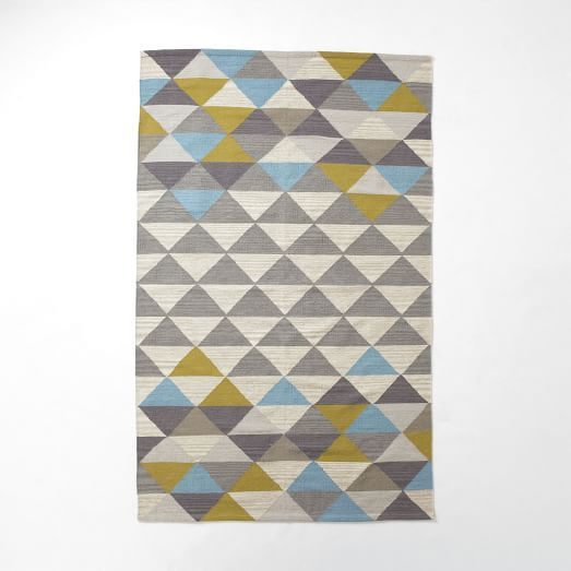 $349 for 5' x 8' - Sarah Campbell Mosaic Triangles Wool Dhurrie - Wave | west elm