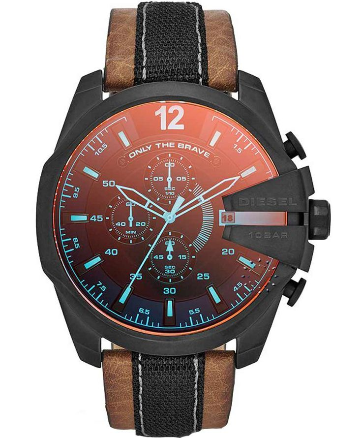 DIESEL Mega Master Chief Brown Leather Strap Η τιμή μας: 225€ http://www.oroloi.gr/product_info.php?products_id=35328