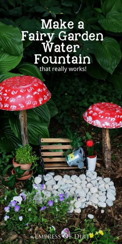 Fairy Garden Fountain Secrets Would you like to add a water fountain to your fairy garden? The fountain you see here is made with a toy watering can, a small fountain pump, a mini garden bench, and a few...
