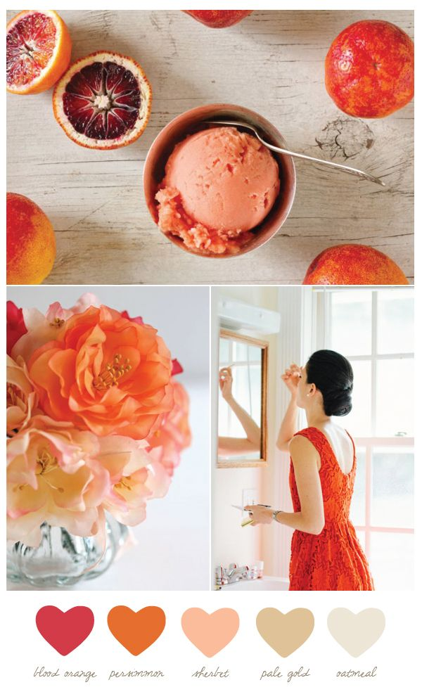 Color Palette: Blood Orange, Persimmon, Sherbet, Pale Gold, Oatmeal