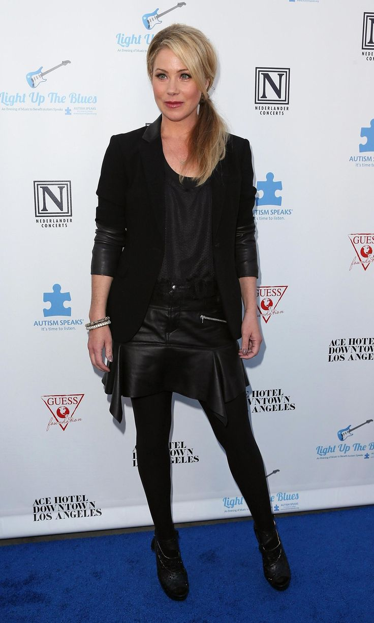 Robe Cuir Noire Femme Christina Applegate | Celebrities In Pantyhose | Christina