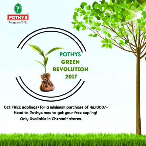 It's that time of the year again when #Pothys gives back to the environment! Join our green revolution this 2017, by shopping @Pothys   #Pothys #GoGreen #GreenRevolution #Saplings #Chennai