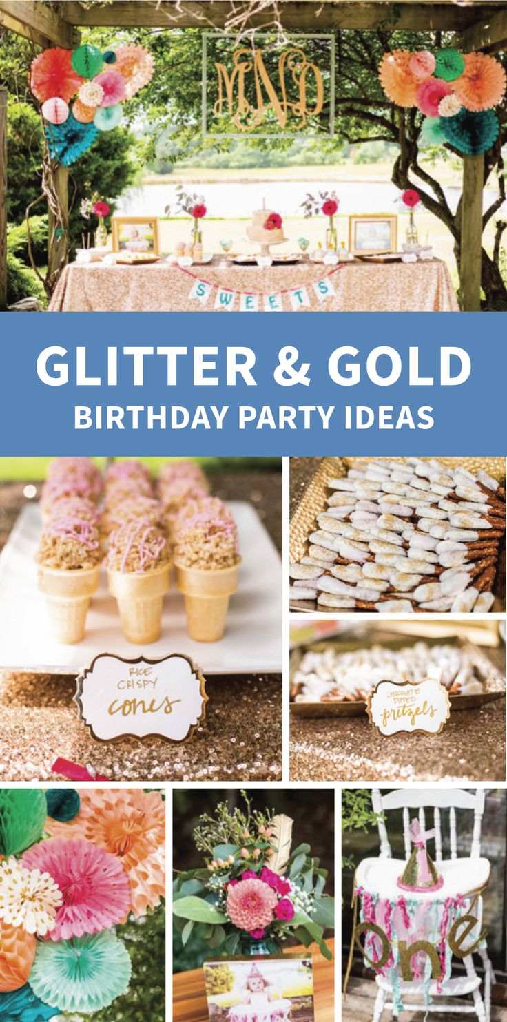 Baby shower rice krispy treat ideas - Glitter And Gold First Birthday These Rice Krispies