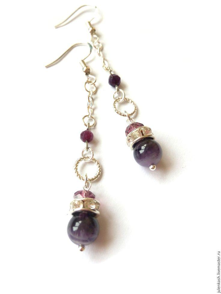 Купить Серьги 009 - тёмно-фиолетовый, украшения ручной работы, украшение, длинные серьги с камнями