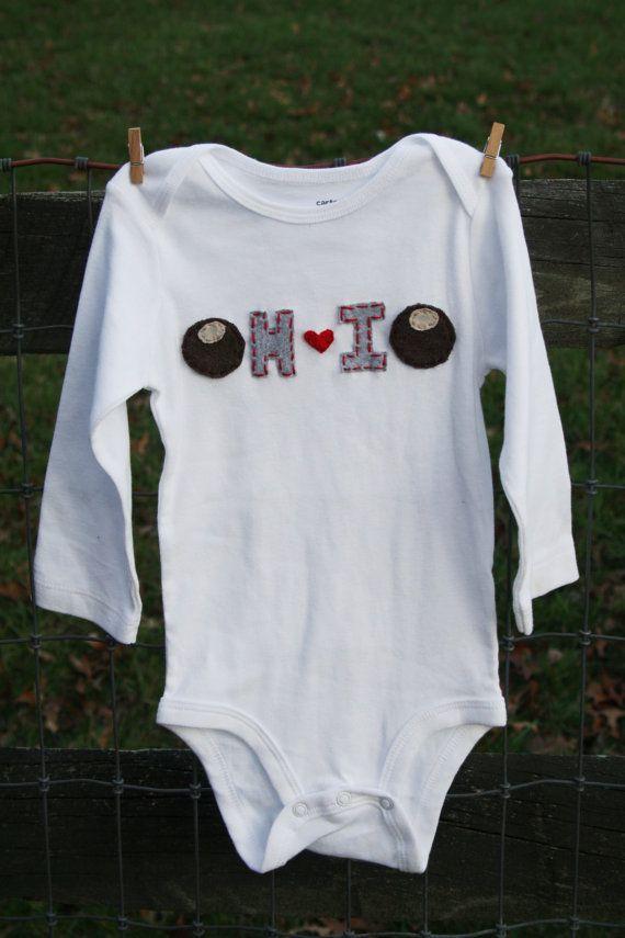 Buckeye OHIO onesie state of OHIO love unique baby gift by klzart, $21.50