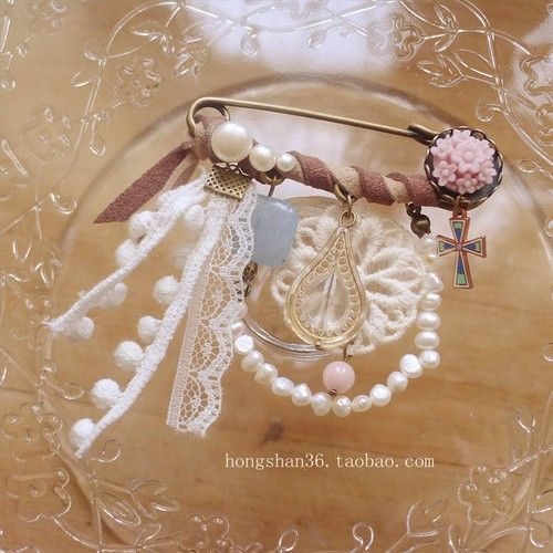 decorated large safety pin brooch