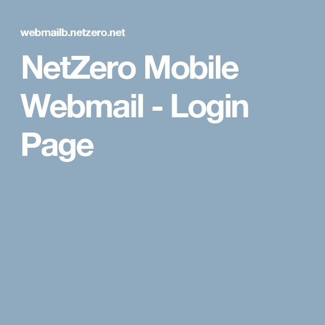 NetZero Mobile Webmail - Login Page
