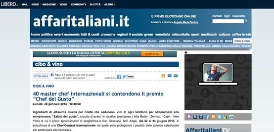 Salotti del Gusto, Chef Contest e carta dei vini su Affari Italiani: http://affaritaliani.libero.it/rubriche/cibo_vino/40-master-chef-internazionali-contendono-premio-chef-gusto.html