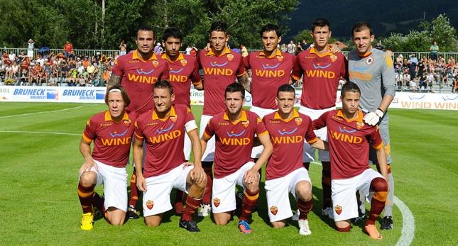"""07/08/2012    AS ROMA v. BRUNICO/RISCONE 9-0    Riscone di Brunico  8 July 2012  Friendly match  """"Campo Sportivo di Riscone""""    Scorers: 9' Pjanic, 16' Totti, 22' Pjanic, 28' Florenzi, 43' Osvaldo, 63' Marquinho, 75' Bojan, 81' Borriello, 87' Simplicio."""