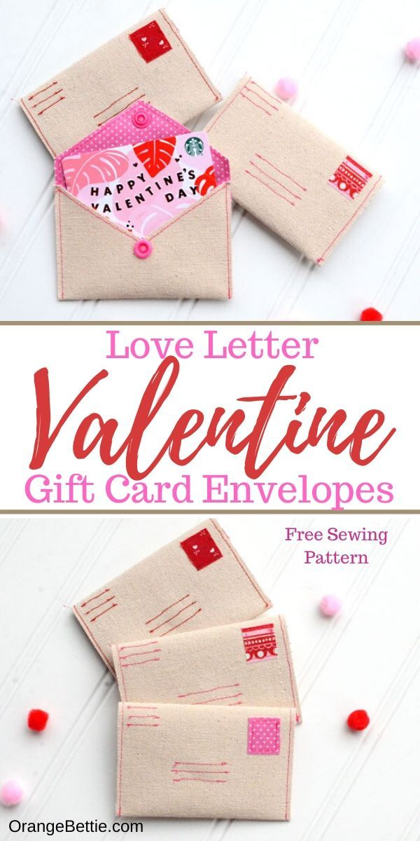 Love Letter Diy Gift Card Envelope Free Sewing Pattern In 2020