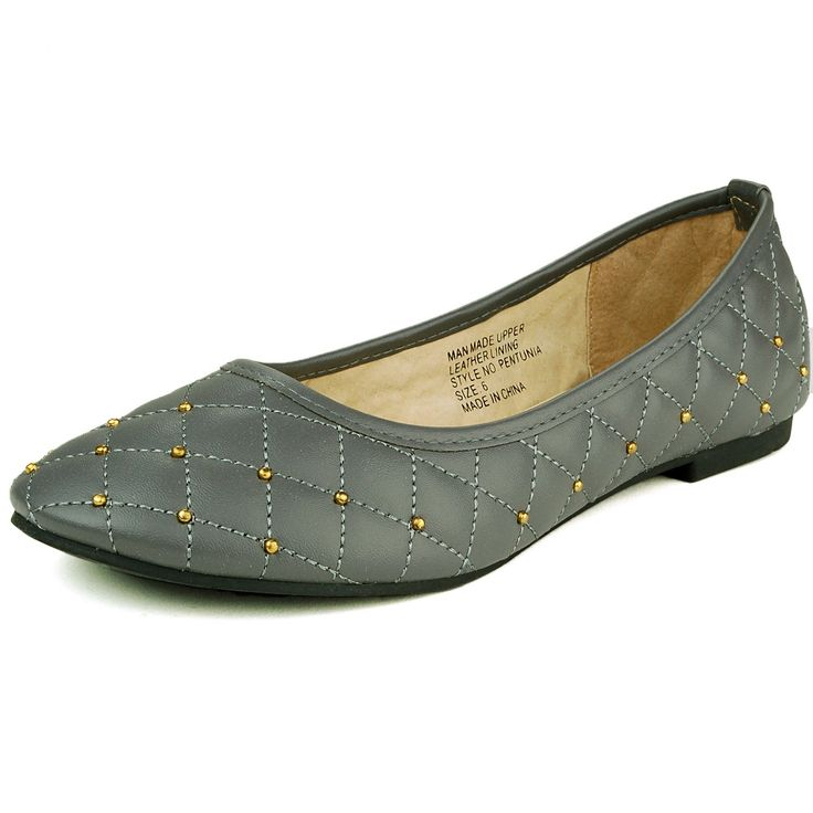 Alpine Swiss Women's Grey Genuine Leather Lined Petunia Ballet Flats 6 M US. Quilted Pillow Stitch Design with Gold Metal Embellishments. Flattering Rounded Toe. Genuine Suede Lining. The Perfect Go-To Shoe For Every Day Use. Exquisite Fashionable Look.
