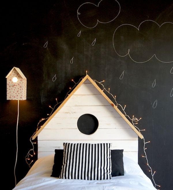 We love the chalkboard wall and house headboard in this cute kids room.