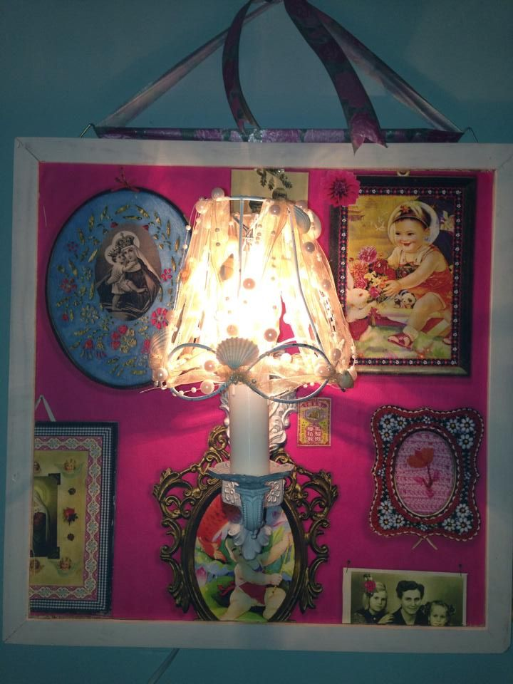 Restyled lamp + an old frame + PiP wallpaper = love reclycing & the result
