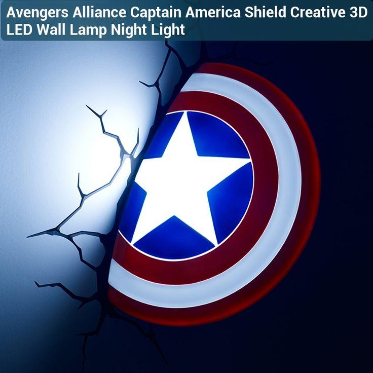 46.10$  Watch now  - 3D Avengers Alliance Captain America Shield Creative LED Wall Lamp Night Light Living Room Children's Bedroom Decor
