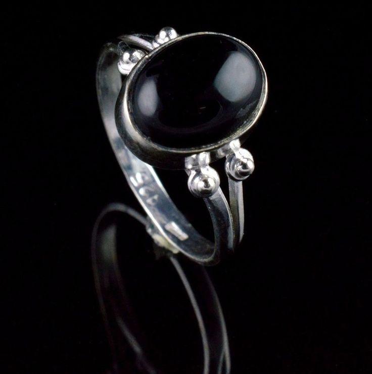 925 STERLING SILVER NATURAL BLACK ONYX GEMSTONE HANDMADE RING SIZE US 6 KJR111 #Unbranded