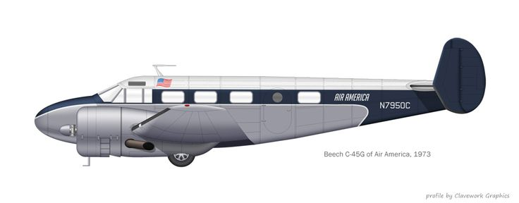 Beech C-45 flown by Air America, 1973 | profile by Clavework Graphics