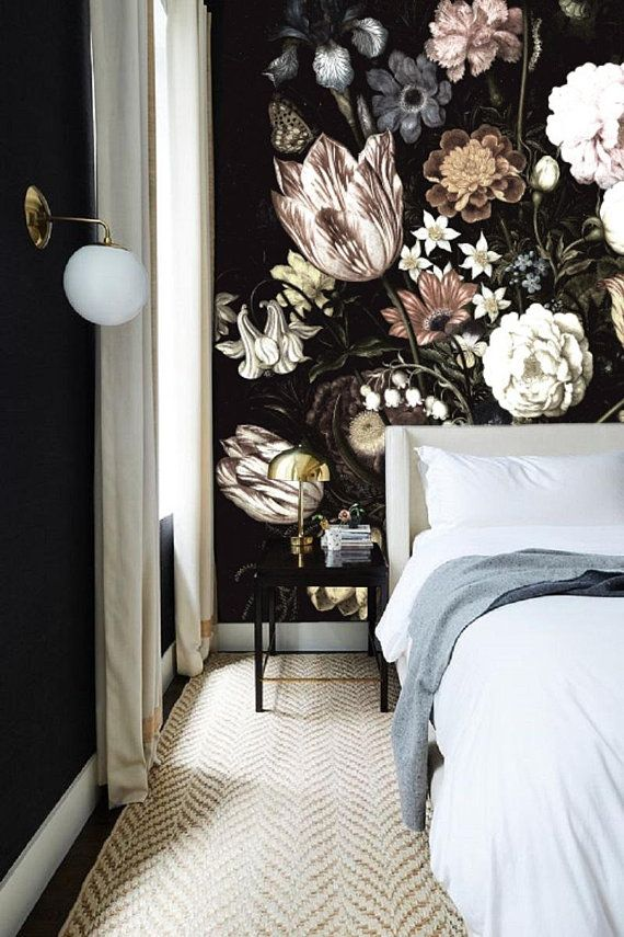 Dark Floral Mural, Dutch Dark Vintage Floral Art Removable Wallpaper, Still Life Flowers, Dark Blossoms, Wall Mural Painting Peel&Stick #125