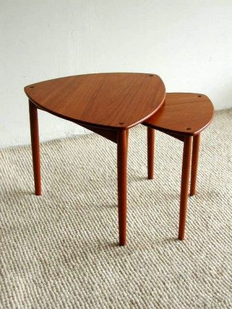 Mid-century teak nesting tables by Willy Beck.