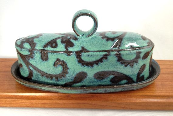 Turquoise Paisley Butter Dish with a Handle by KandaceLockwood, $55.00