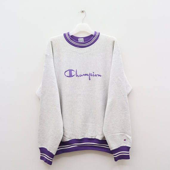 Vintage CHAMPION Sportswear Big Logo Gray Sweater Sweatshirt