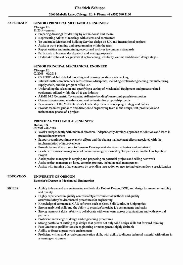 mechanical engineer resume sample beautiful principal