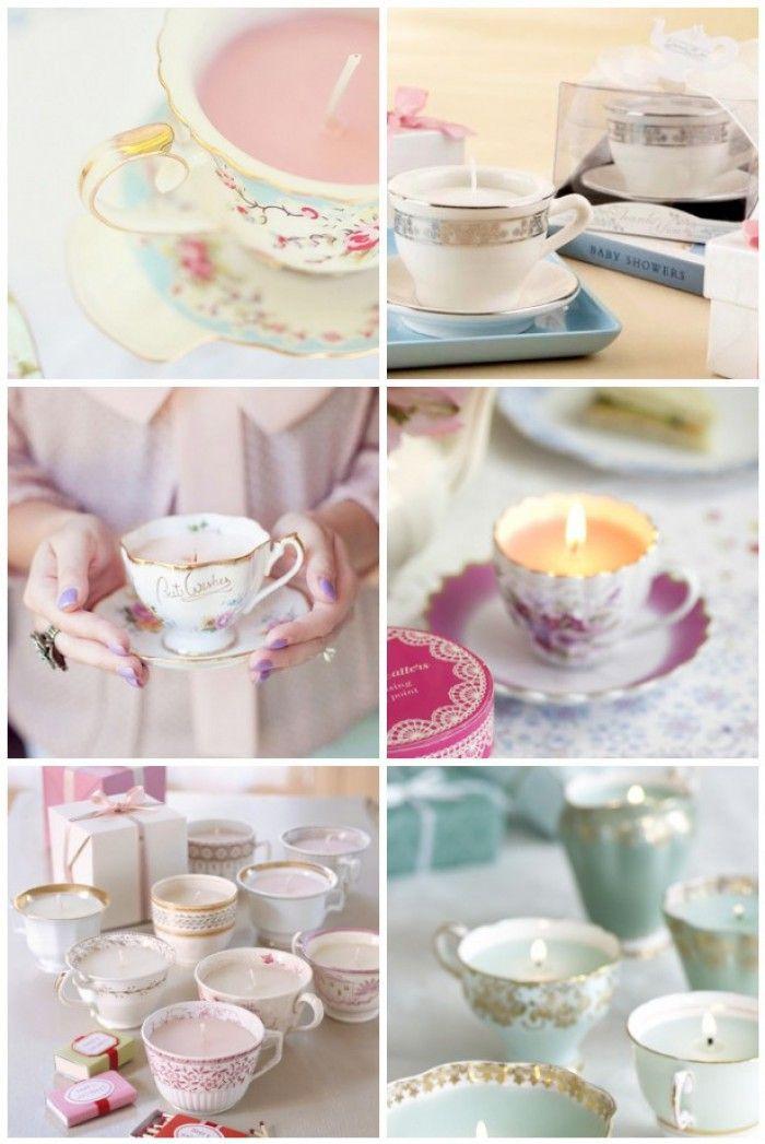 Persönliches Geschenk mit selbstgemachten Kerzen in schönem Porzellan