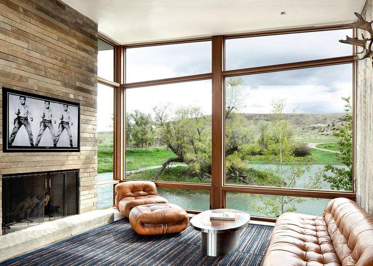 Üveg, kő és bőr a nappaliban - nappali ötletek, modern stílusban