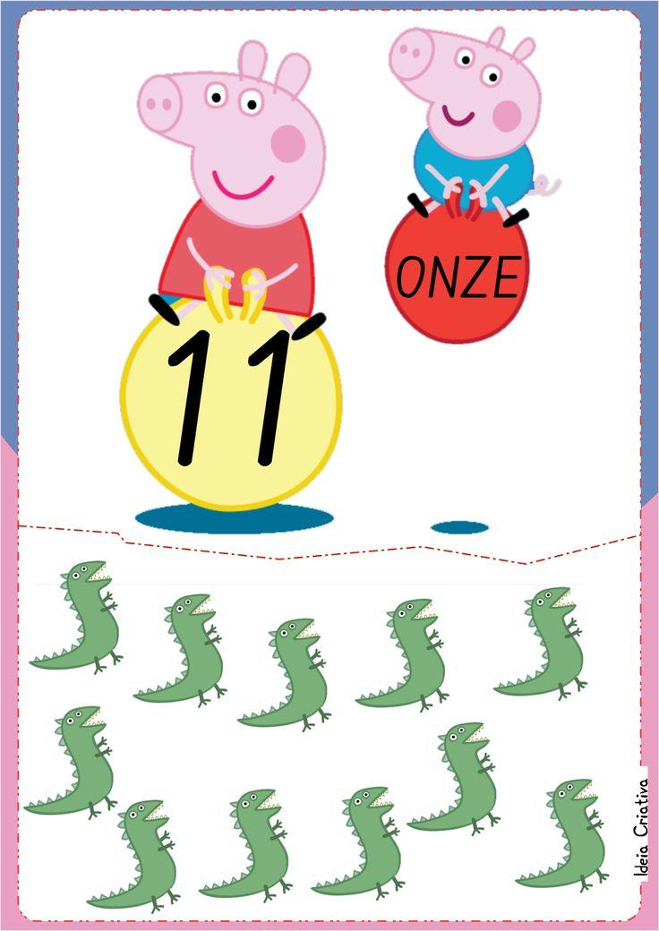 Numerais de Parede Peppa Pig e George para Imprimir Grátis