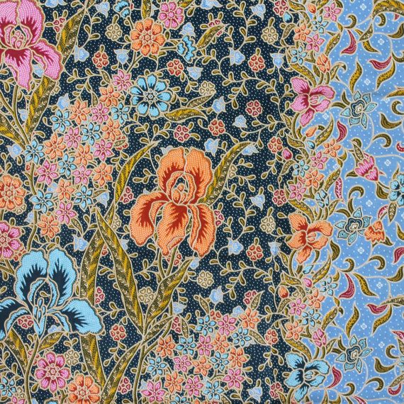 flowers and blue  vintage  flowers  pure cotton by TheThailand, $17.00